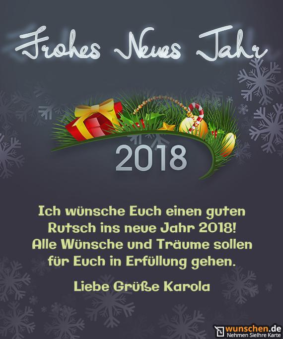 Ich wünsche Euch einen guten - Fertig Karte zum Neue Jahr